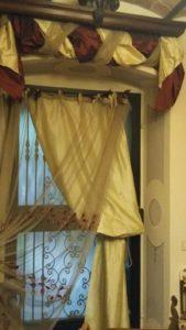 tenda in tulle doppiata in seta pura con drappo bicolore in seta, stile provenzale <b>RIF: TC141</b>