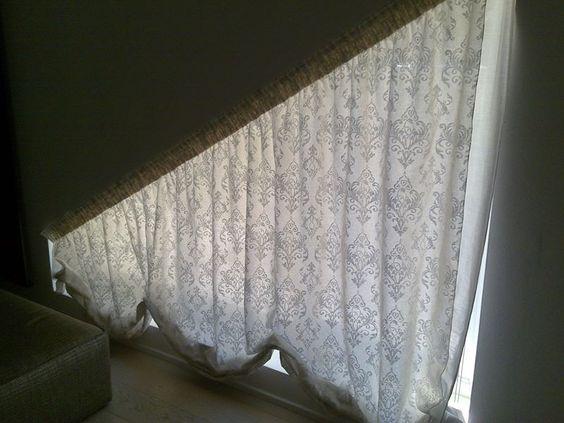tenda per finestra trapezio in lino stampato
