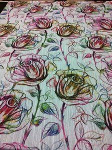 tessuto per tende con stampa a rose stilizzate <b>RIF: TR60</b>