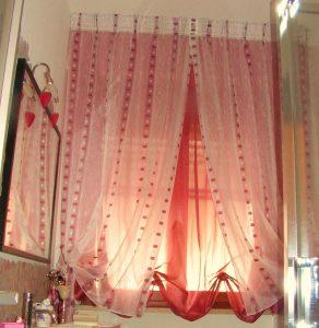 tenda per bagno con sottotenda a finto pacchetto