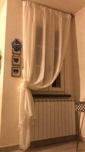 tenda arricciata su bastone con tessuto tinta unita jacquard