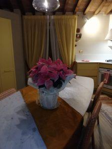 runner per tavolo da pranzo coordinato alle sciarpe fermatenda su tende in velo bicolore